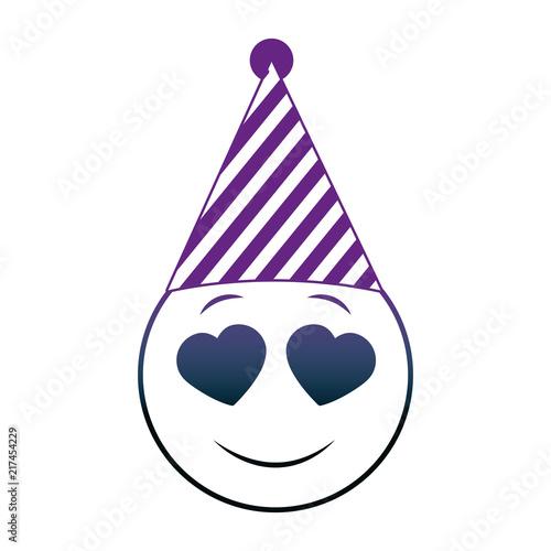 Birthday Face Emoji In Love Party Hat Neon