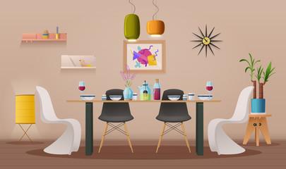 Dinning room interior with furniture. Cartoon vector illustration