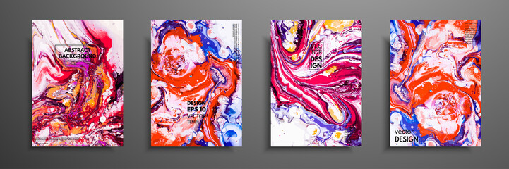 Fototapete - Colorful covers design set with textures. Closeup of the painting. Abstract bright hand painted background, fluid acrylic painting on canvas. Fragment of artwork. Modern art.
