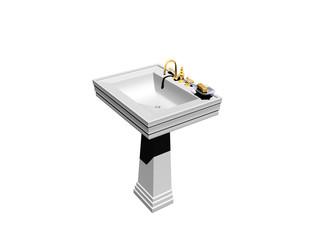 Waschbecken mit Standfuß und goldenem Wasserhahn