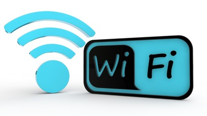 the image of panel text Wi Fi black and blue color and sign of Wi Fi distribution of blue color. The idea of zones and areas free Internet access. Isolated on a white background. 3D rendering