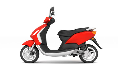3D Rendering of red modern motor scooter isolated on white background. Side view of red moped.