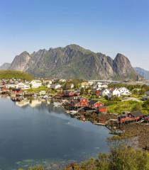 Garden Poster Scandinavia Fishing harbor in the beautiful village Reine in the Lofoten Islands, Norway