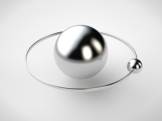 A stylized image of the model of the atom, platinum and silver, with an elliptical orbit and the rotating sphere. Abstraction of NAT white background. 3D rendering