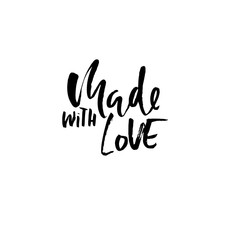 Made with love. Hand made lettering phrase for online store. Vector ink illustration. Modern dry brush calligraphy.