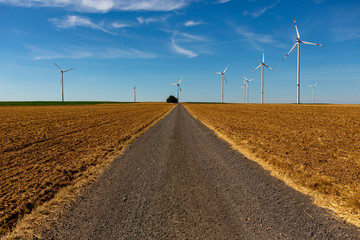 Country road with white wind turbines.
