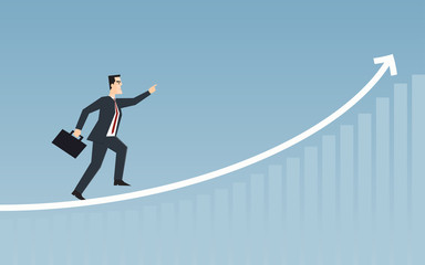 businessman running on uptrend line arrow chart in flat icon design with blue color background