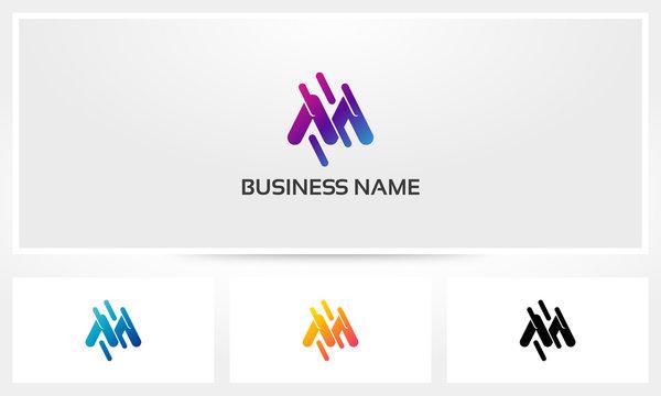 M Letter Diagonal Line Logo