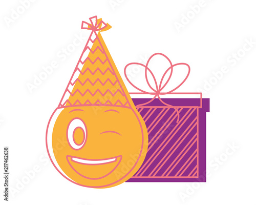 Birthday Wink Emoji Face With Party Hat And Gift