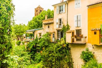 Ancient medieval village Moustiers Sainte Marie, Provence, Verdon in France