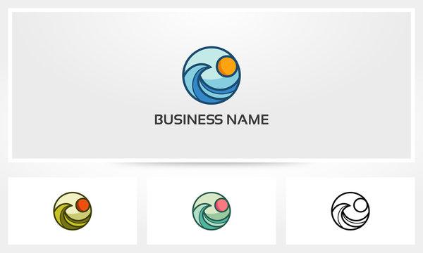 Ocean Wave Sun Logo