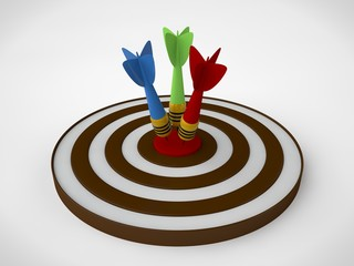 an image of a target of concentric brown rings and a dart hit the target. The image on a white background. 3D rendering. The idea of success and good luck.