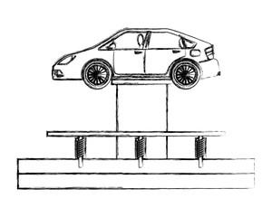 car at hydraulic lifting platform inspection and maintenance