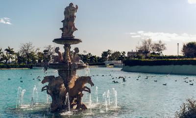 Neptune Fountain. Battery Park, Torremolinos. Spain