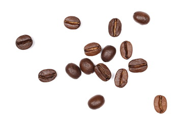 Coffee beans pile, collection isolated on white background and texture, top view
