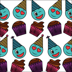 sweet cupcake and emoji with hat party pattern