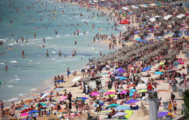 Tourists sunbathe in El Arenal beach in the island of Mallorca