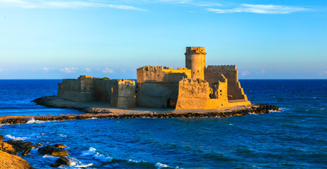 Medieval castle in the sea  Le Castella,  Isola capo Rizutto in Calabria, Italy