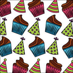sweet cupcake with hat party pattern