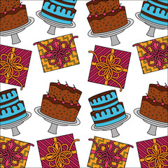 sweet cakes with gift boxes present pattern