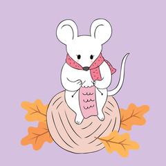 Cartoon cute Autumn mice knitting vector.