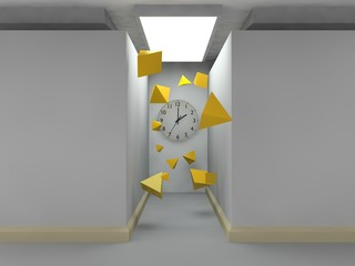 stylized image of a room made of grey cubes, lighted corridor, on the wall of which there is a clock. A variety of flying pyramids yellow The idea of time, eternity, chaos and order lunch 3D rendering