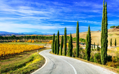 Classic Tuscany landscapes - rolling hills and cypress trees. Italy