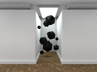 the image of an empty corridor illuminated rectangular lamp with white walls, lots of black polyhedra, geometric shapes flying. a stylized image on white background. 3D rendering