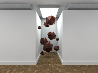 the image of an empty corridor lit by a rectangular light with white walls and a lot of flying polyhedra, Platonic solids, red. a stylized image on white background. 3D rendering