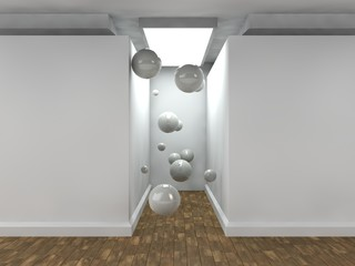 the image of an empty corridor lit by a rectangular light with white walls and a lot of flying balls white. a stylized image on white background. 3D rendering