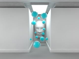the image of an empty corridor illuminated rectangular lamp with white walls, human faces on the wall and a lot of flying balls blue. a stylized image on white background. 3D rendering