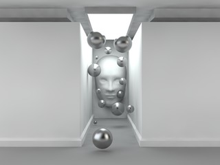 the image of an empty corridor illuminated rectangular lamp with white walls, human faces on the wall and a lot of flying silver balls. a stylized image on white background. 3D rendering