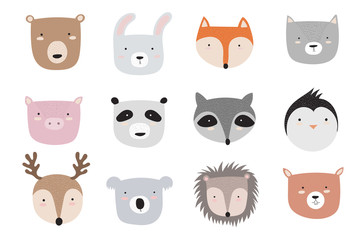 Vector animals faces collection. Doodle illustration