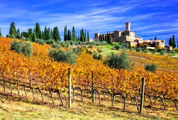 Foto op Canvas Toscane Picturesque Tuscany - vineywrds and castles. Banfi-il borgo