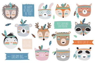 Vector indian tribal animals faces collection with motivational slogan