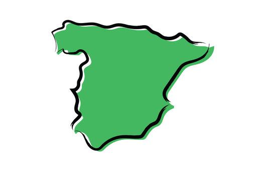 Stylized green sketch map of Spain