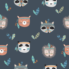 Vector seamless pattern with indian tribal animals faces.