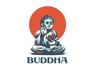 Buddha. Vector emblem.