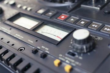 retro audio player with loudness indicator. closeup. bokeh