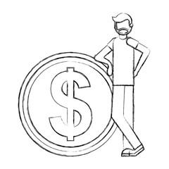 beard man with big dollar coin money vector illustration hand drawing