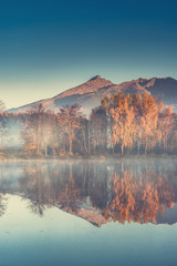 Fotobehang Alpen Autumn trees and mountains reflection in lake