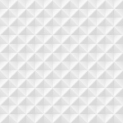 White seamless geometric pattern. Vector volumetric background with rhombuses