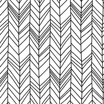 Hand drawn chevron herringbone seamless pattern with childish drawing style