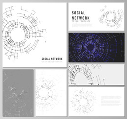 The minimalistic abstract vector layouts of modern social network mockups in popular formats. Network connection concept with connecting lines and dots. Technology design, digital geometric background