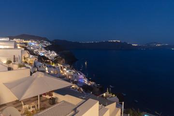 Ville de Oia sur l'île de Santorin dans les Cyclades Grecques