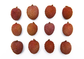 Twelve Lychee, Litchi fruits isolated on the white background