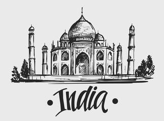 Sketch of Taj Mahal. India. Hand drawn illustration. Vector Fototapete