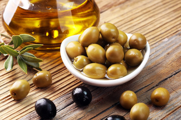 olives and olive oil. fresh organic black and green olives
