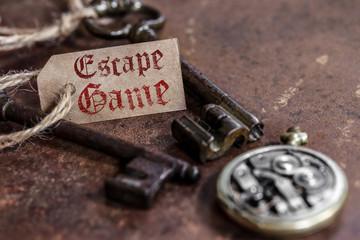 escape game (fond rouille, une étiquette)