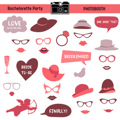 Bachelorette event, hen party, bridal shower printable Glasses, Hats, Lips, Signs, Masks for  photo booth props in vector